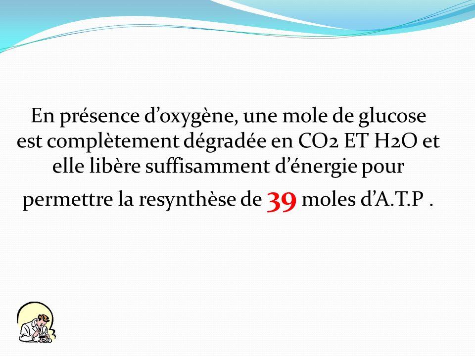 En présence doxygène, une mole de glucose est complètement dégradée en CO2 ET H2O et elle libère suffisamment dénergie pour permettre la resynthèse de