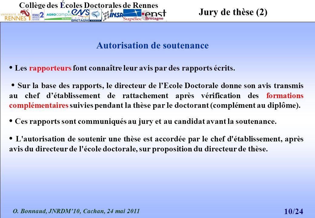 O. Bonnaud, JNRDM10, Cachan, 24 mai 2011 10/24 Collège des Écoles Doctorales de Rennes Les rapporteurs font connaître leur avis par des rapports écrit