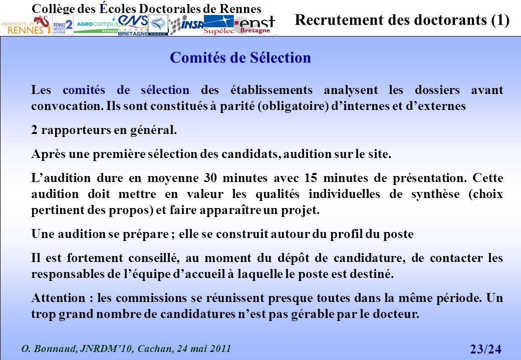 O. Bonnaud, JNRDM10, Cachan, 24 mai 2011 23/24 Collège des Écoles Doctorales de Rennes Recrutement des doctorants (1) Les comités de sélection des éta