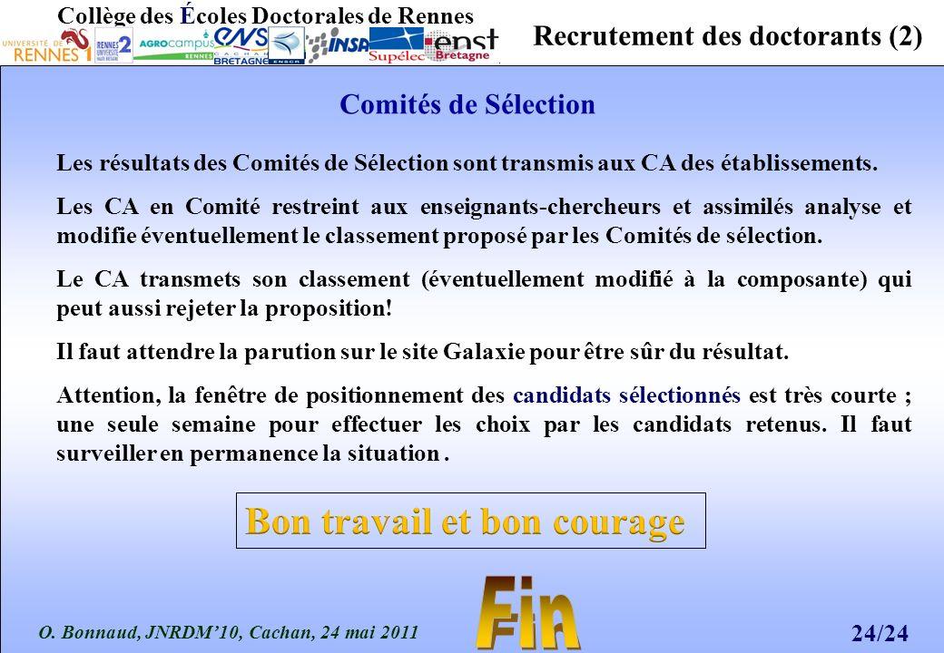 O. Bonnaud, JNRDM10, Cachan, 24 mai 2011 24/24 Collège des Écoles Doctorales de Rennes Recrutement des doctorants (2) Les résultats des Comités de Sél