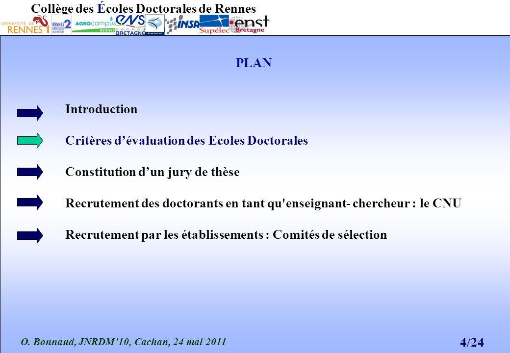 O. Bonnaud, JNRDM10, Cachan, 24 mai 2011 4/24 Collège des Écoles Doctorales de Rennes PLAN Introduction Critères dévaluation des Ecoles Doctorales Con