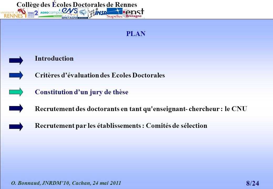 O. Bonnaud, JNRDM10, Cachan, 24 mai 2011 8/24 Collège des Écoles Doctorales de Rennes PLAN Introduction Critères dévaluation des Ecoles Doctorales Con