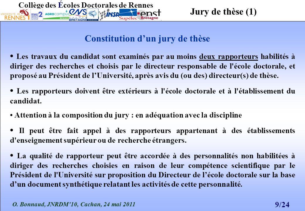 O. Bonnaud, JNRDM10, Cachan, 24 mai 2011 9/24 Collège des Écoles Doctorales de Rennes Les travaux du candidat sont examinés par au moins deux rapporte