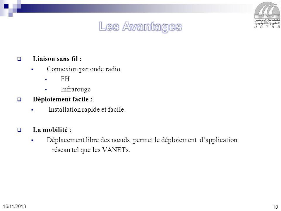 10 16/11/2013 Liaison sans fil : Connexion par onde radio FH Infrarouge Déploiement facile : Installation rapide et facile.