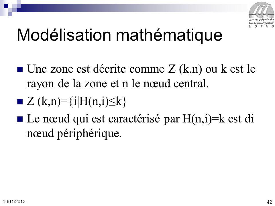42 16/11/2013 Modélisation mathématique Une zone est décrite comme Z (k,n) ou k est le rayon de la zone et n le nœud central.