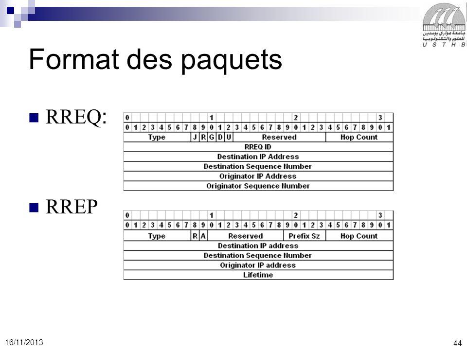 44 16/11/2013 Format des paquets RREQ: RREP