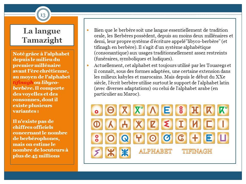 La langue Tamazight Noté grâce à lalphabet depuis le milieu du premier millénaire avant l'ère chrétienne, au moyen de l'alphabet tifinagh ou libyco- b