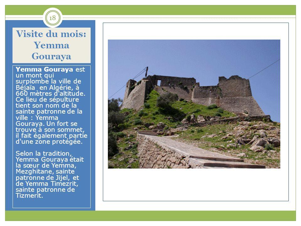 Visite du mois: Yemma Gouraya Yemma Gouraya est un mont qui surplombe la ville de Béjaïa en Algérie, à 660 mètres d'altitude. Ce lieu de sépulture tie