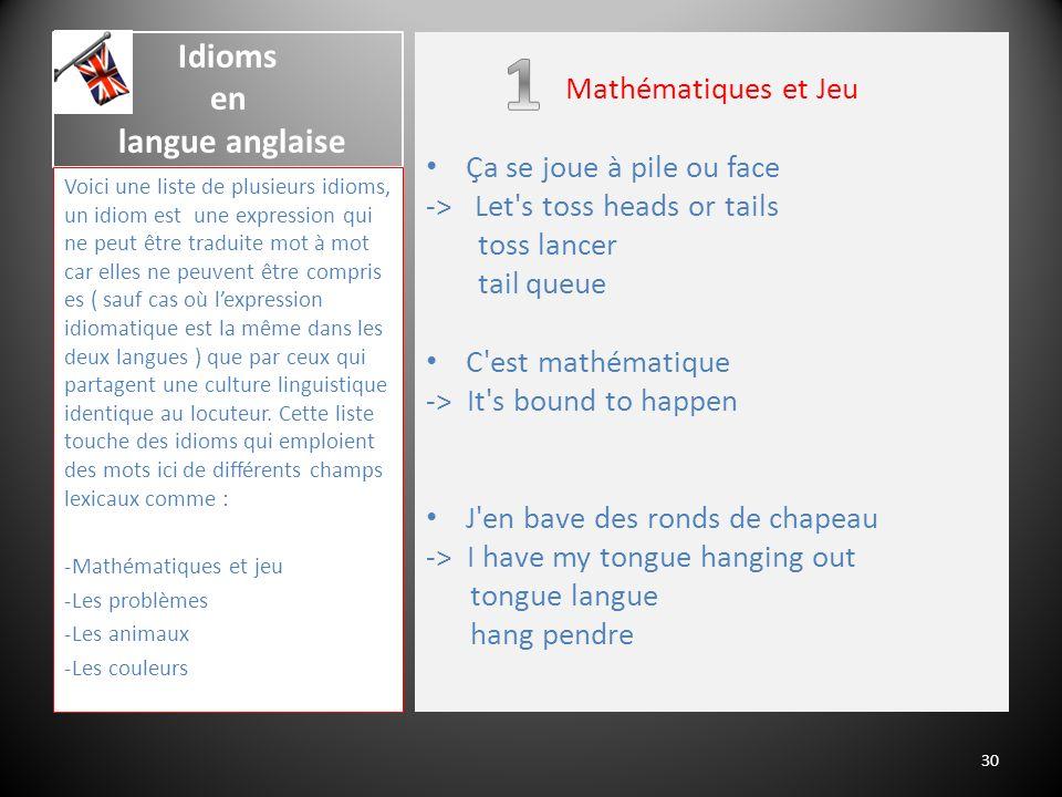 Idioms en langue anglaise Voici une liste de plusieurs idioms, un idiom est une expression qui ne peut être traduite mot à mot car elles ne peuvent êt