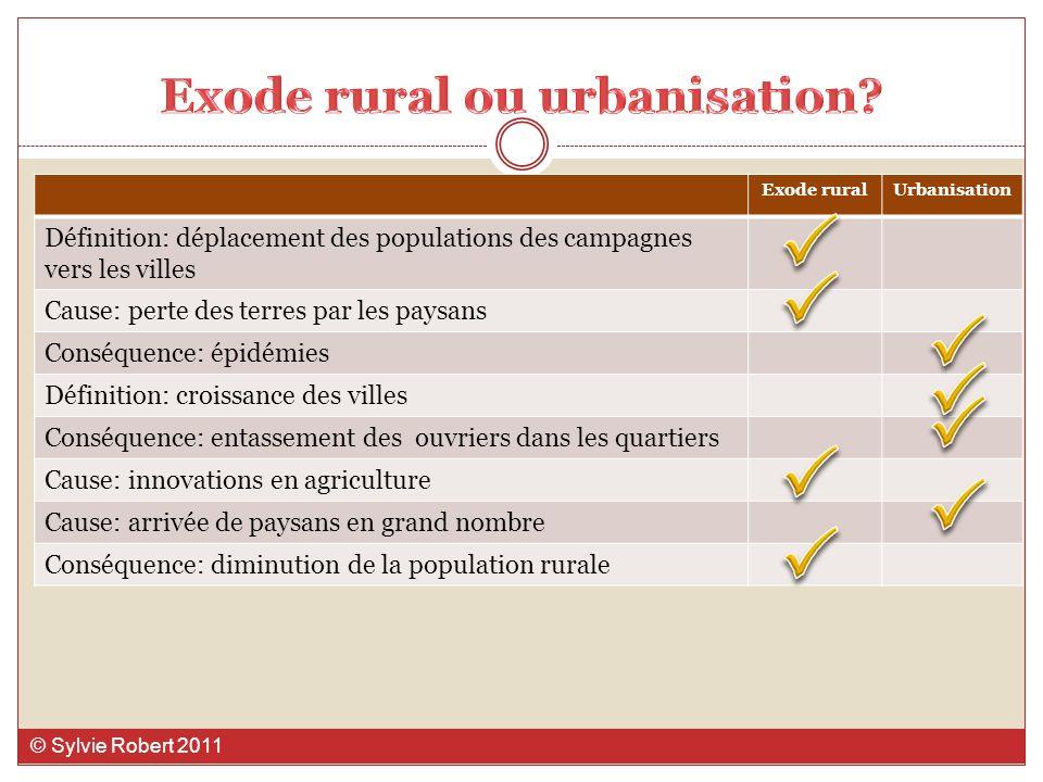 Exode ruralUrbanisation Définition: déplacement des populations des campagnes vers les villes Cause: perte des terres par les paysans Conséquence: épi