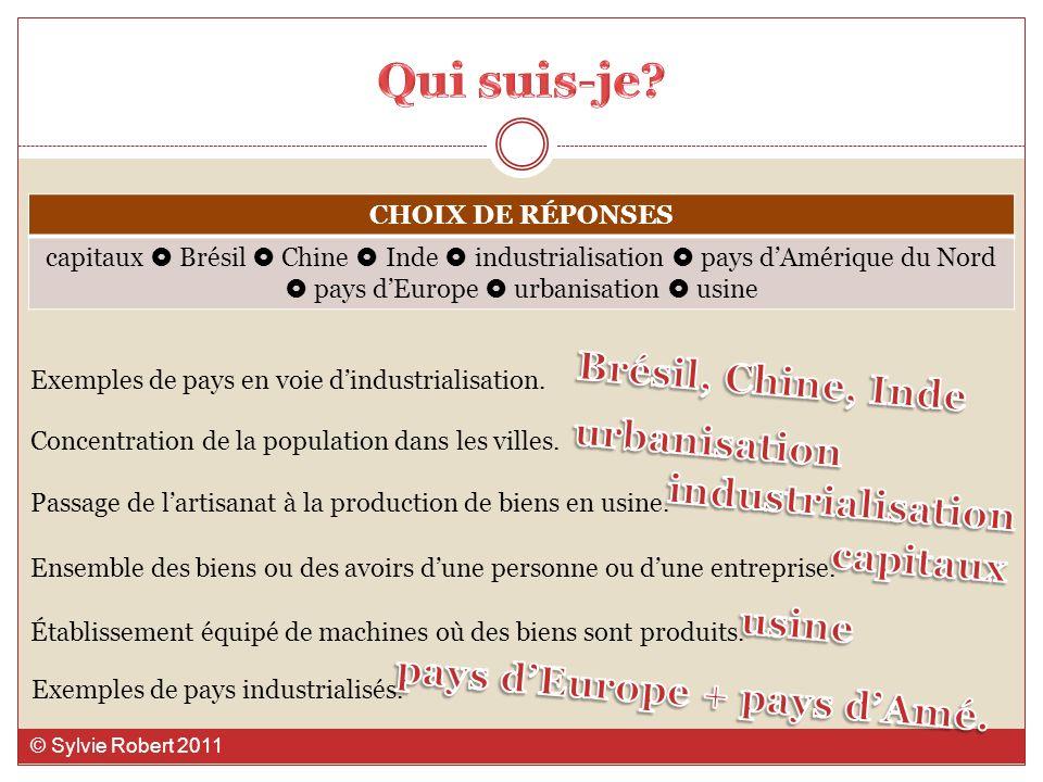 CHOIX DE RÉPONSES capitaux Brésil Chine Inde industrialisation pays dAmérique du Nord pays dEurope urbanisation usine Exemples de pays en voie dindust