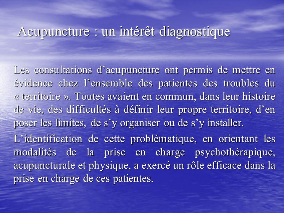 Acupuncture : un intérêt diagnostique Les consultations dacupuncture ont permis de mettre en évidence chez lensemble des patientes des troubles du « t