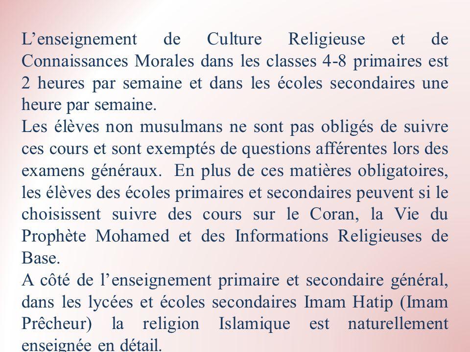 Lenseignement de Culture Religieuse et de Connaissances Morales dans les classes 4-8 primaires est 2 heures par semaine et dans les écoles secondaires
