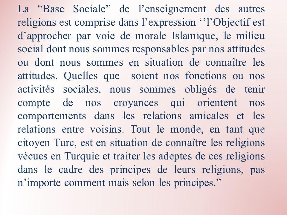 La Base Sociale de lenseignement des autres religions est comprise dans lexpression lObjectif est dapprocher par voie de morale Islamique, le milieu s