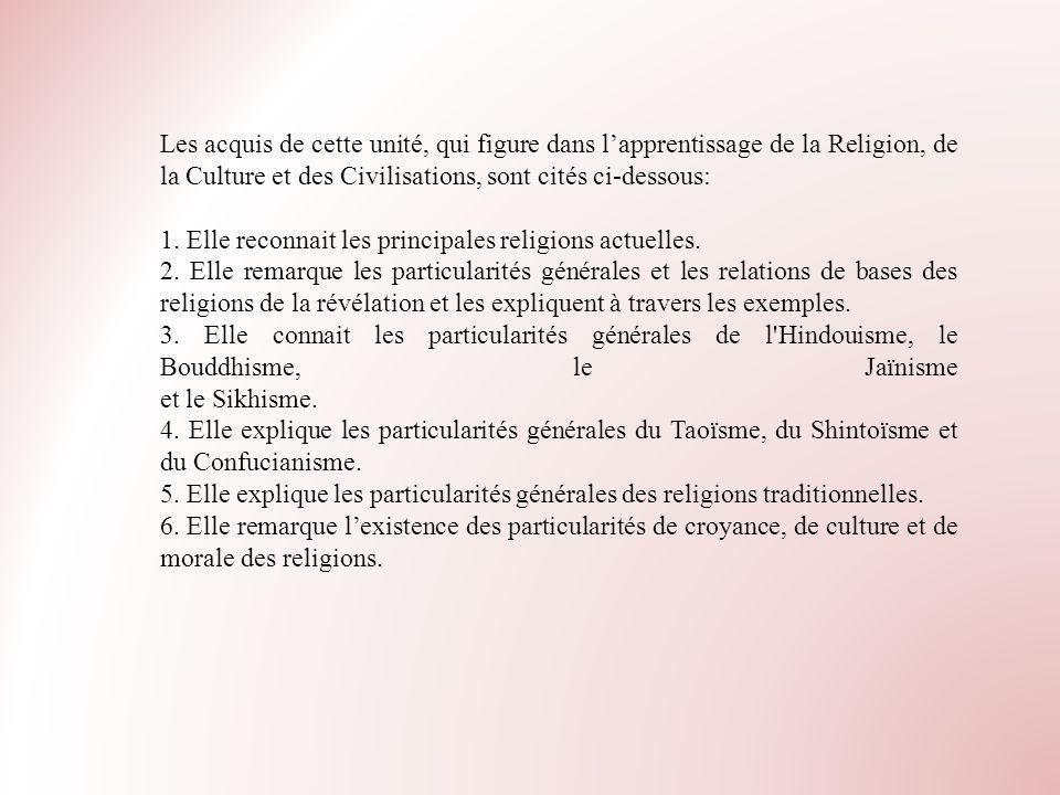 Les acquis de cette unité, qui figure dans lapprentissage de la Religion, de la Culture et des Civilisations, sont cités ci-dessous: 1. Elle reconnait