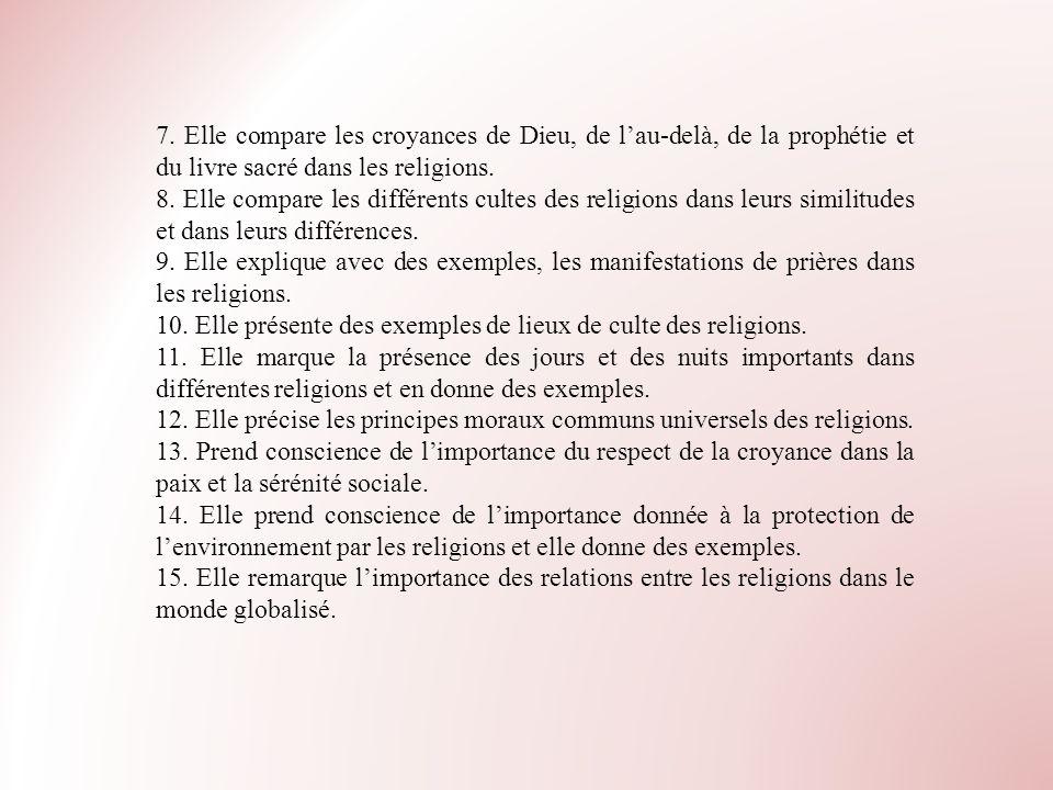 7. Elle compare les croyances de Dieu, de lau-delà, de la prophétie et du livre sacré dans les religions. 8. Elle compare les différents cultes des re