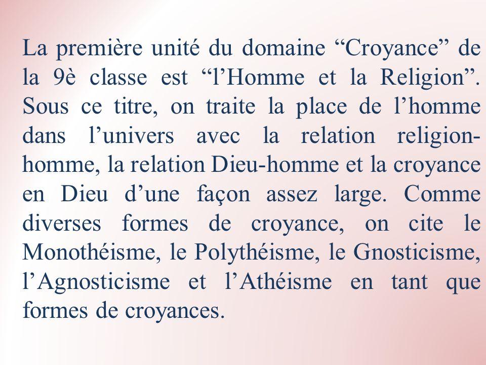 La première unité du domaine Croyance de la 9è classe est lHomme et la Religion. Sous ce titre, on traite la place de lhomme dans lunivers avec la rel