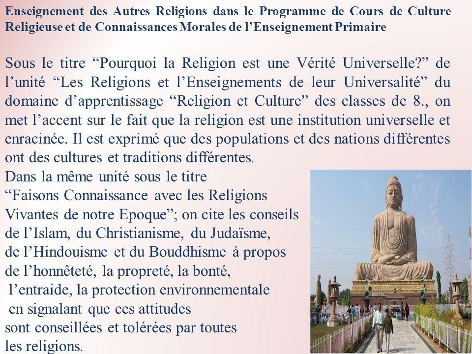 Enseignement des Autres Religions dans le Programme de Cours de Culture Religieuse et de Connaissances Morales de lEnseignement Primaire Sous le titre
