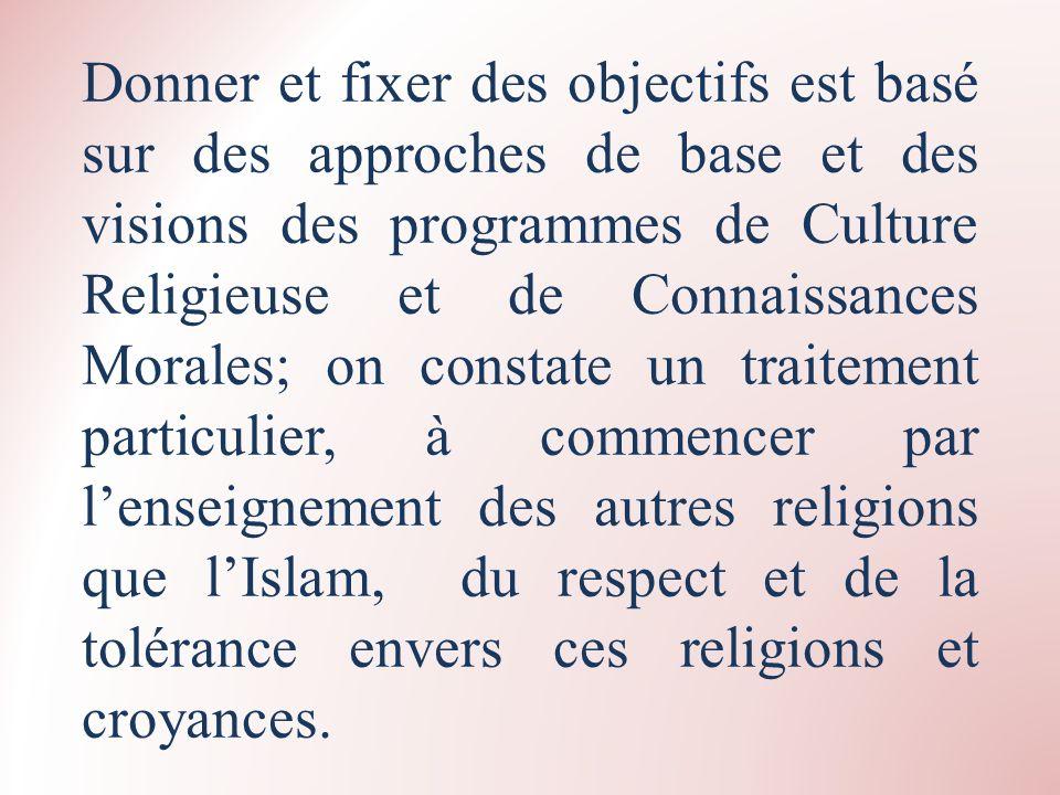 Donner et fixer des objectifs est basé sur des approches de base et des visions des programmes de Culture Religieuse et de Connaissances Morales; on c