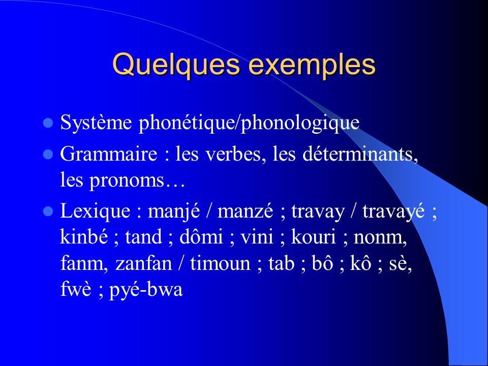 Quelques exemples Système phonétique/phonologique Grammaire : les verbes, les déterminants, les pronoms… Lexique : manjé / manzé ; travay / travayé ;