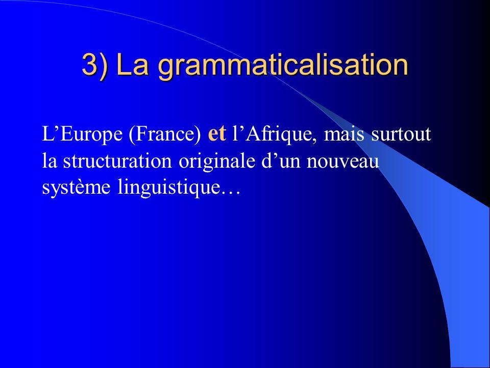 3) La grammaticalisation LEurope (France) et lAfrique, mais surtout la structuration originale dun nouveau système linguistique…