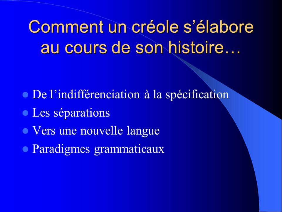 Comment un créole sélabore au cours de son histoire… De lindifférenciation à la spécification Les séparations Vers une nouvelle langue Paradigmes gram