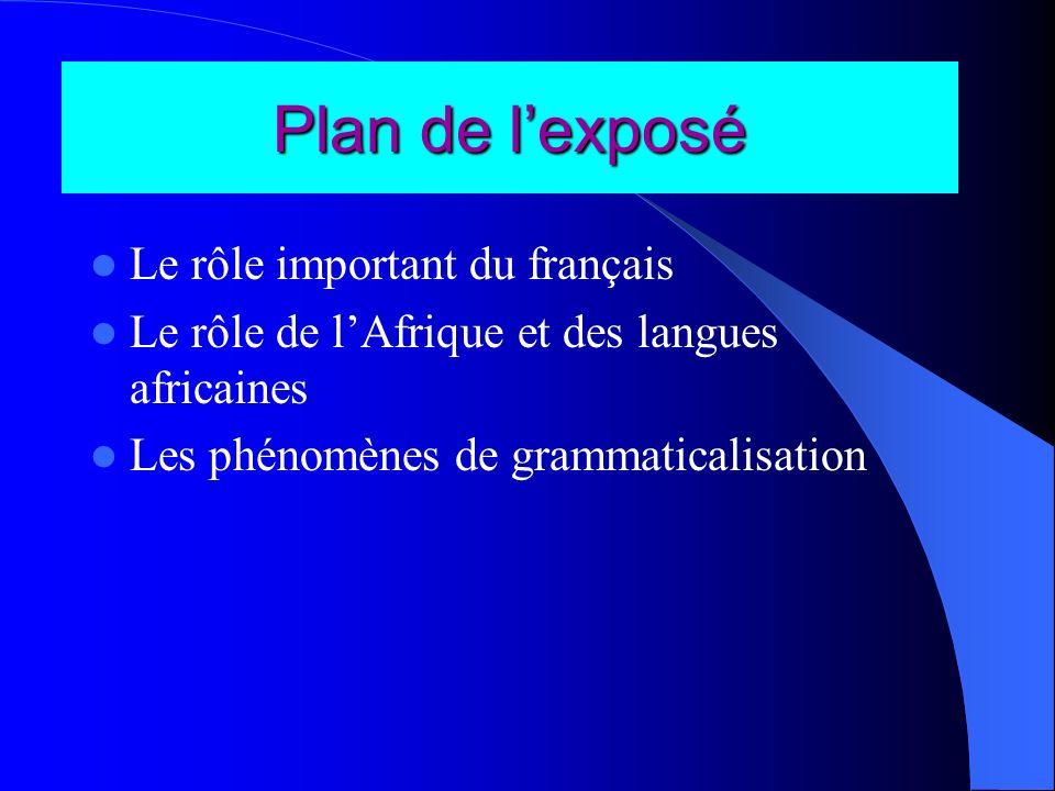 Plan de lexposé Le rôle important du français Le rôle de lAfrique et des langues africaines Les phénomènes de grammaticalisation