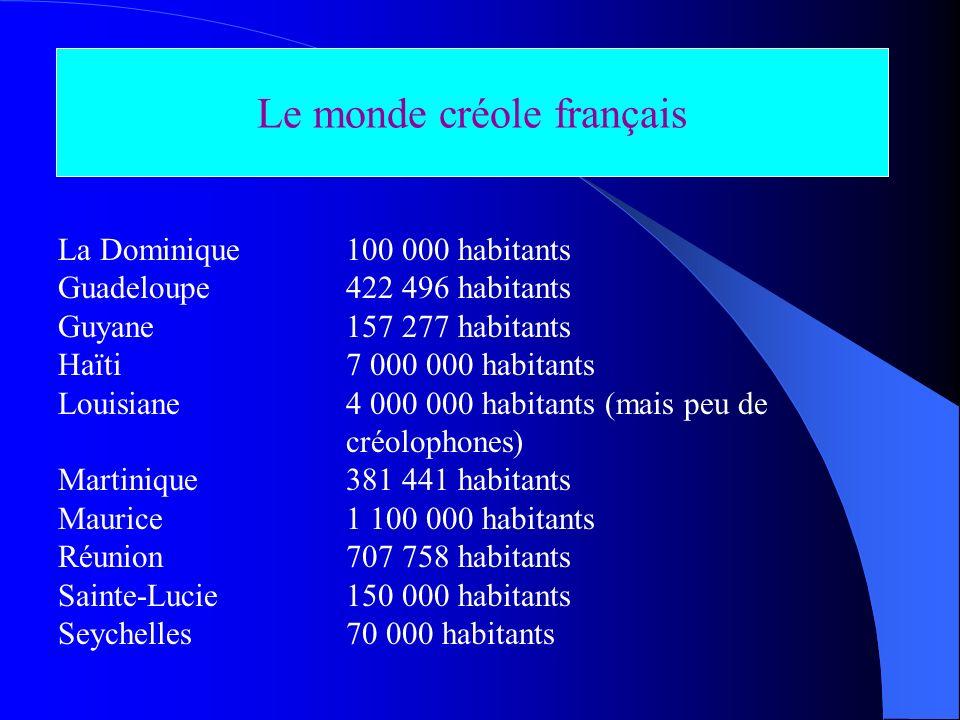 Le monde créole français La Dominique 100 000 habitants Guadeloupe 422 496 habitants Guyane 157 277 habitants Haïti 7 000 000 habitants Louisiane 4 00
