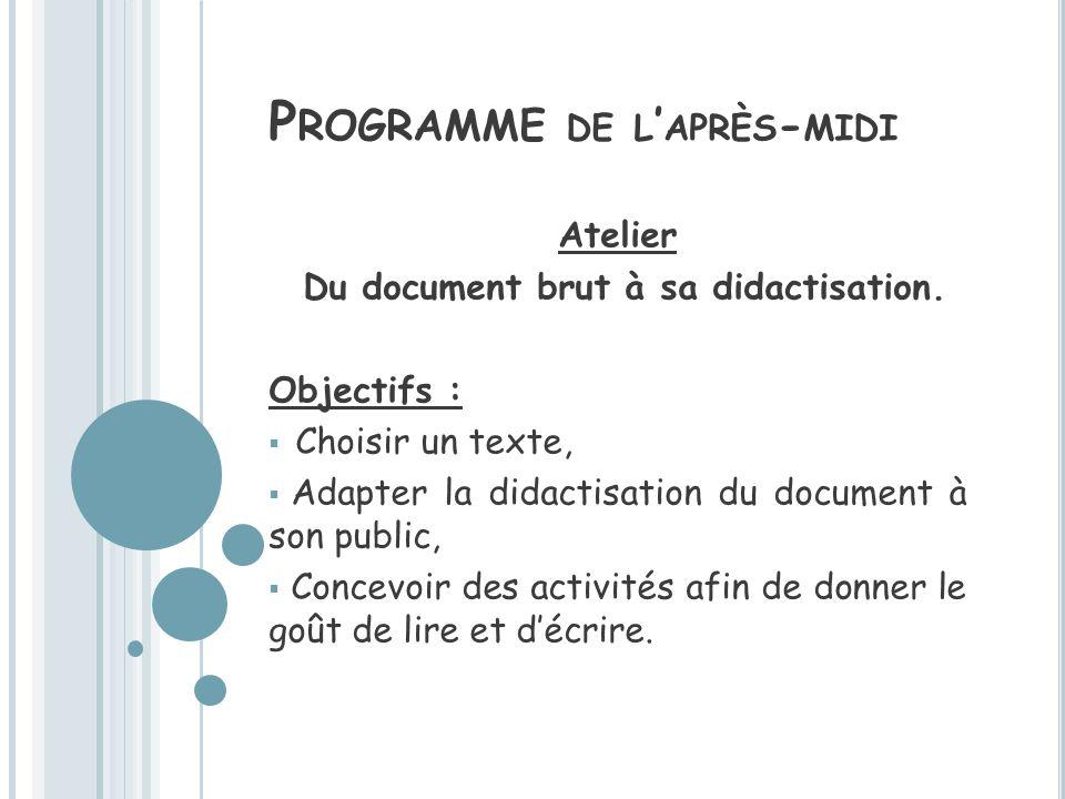 P ROGRAMME DE L APRÈS - MIDI Atelier Du document brut à sa didactisation. Objectifs : Choisir un texte, Adapter la didactisation du document à son pub