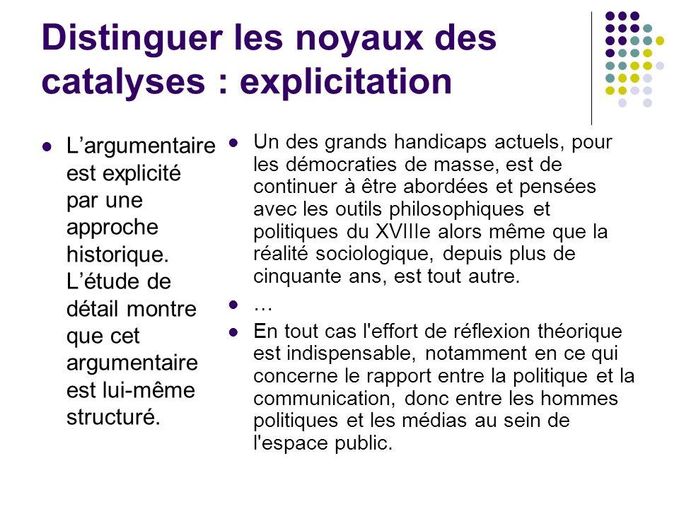 Distinguer les noyaux des catalyses : explicitation Largumentaire est explicité par une approche historique.