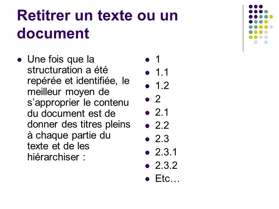 Retitrer un texte ou un document Une fois que la structuration a été repérée et identifiée, le meilleur moyen de sapproprier le contenu du document est de donner des titres pleins à chaque partie du texte et de les hiérarchiser : 1 1.1 1.2 2 2.1 2.2 2.3 2.3.1 2.3.2 Etc…