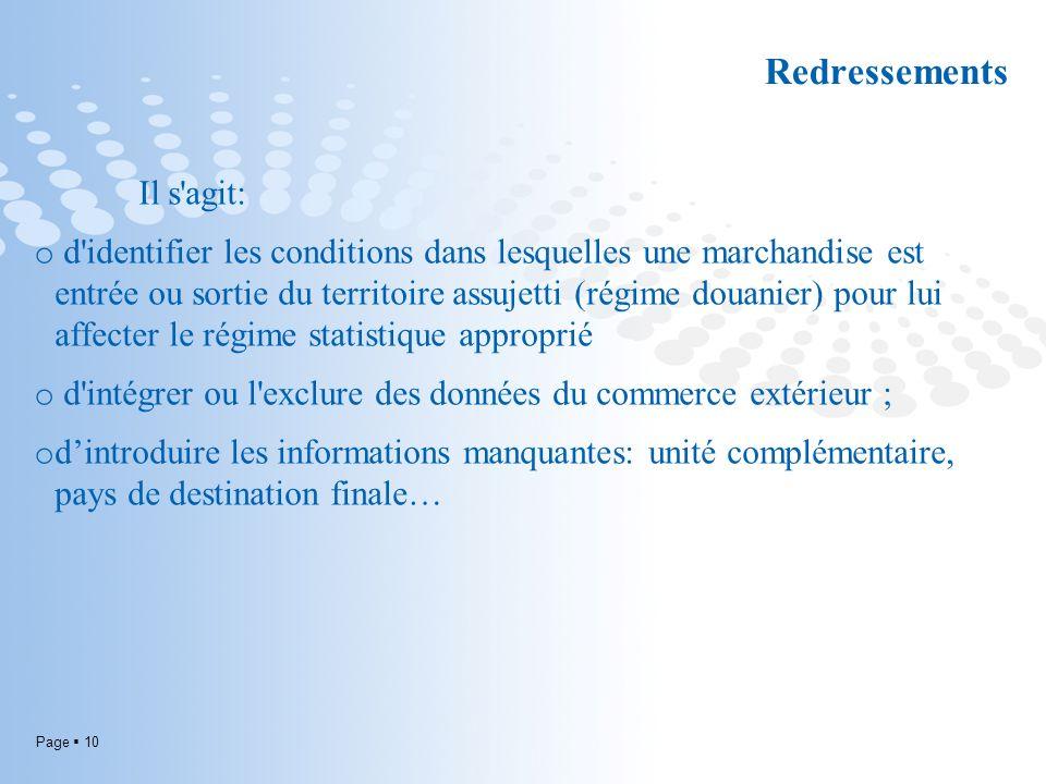 Page 10 Redressements Il s'agit: o d'identifier les conditions dans lesquelles une marchandise est entrée ou sortie du territoire assujetti (régime do