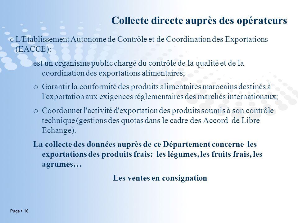 Page 16 Collecte directe auprès des opérateurs o L Etablissement Autonome de Contrôle et de Coordination des Exportations (EACCE): est un organisme public chargé du contrôle de la qualité et de la coordination des exportations alimentaires; o Garantir la conformité des produits alimentaires marocains destinés à l exportation aux exigences réglementaires des marchés internationaux; o Coordonner l activité d exportation des produits soumis à son contrôle technique (gestions des quotas dans le cadre des Accord de Libre Echange).