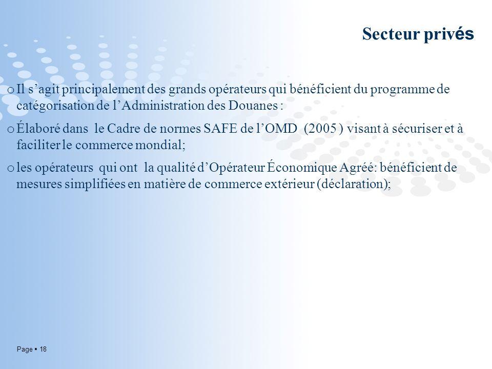 Page 18 Secteur priv és o Il sagit principalement des grands opérateurs qui bénéficient du programme de catégorisation de lAdministration des Douanes