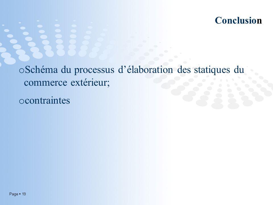 Page 19 Conclusion o Schéma du processus délaboration des statiques du commerce extérieur; o contraintes