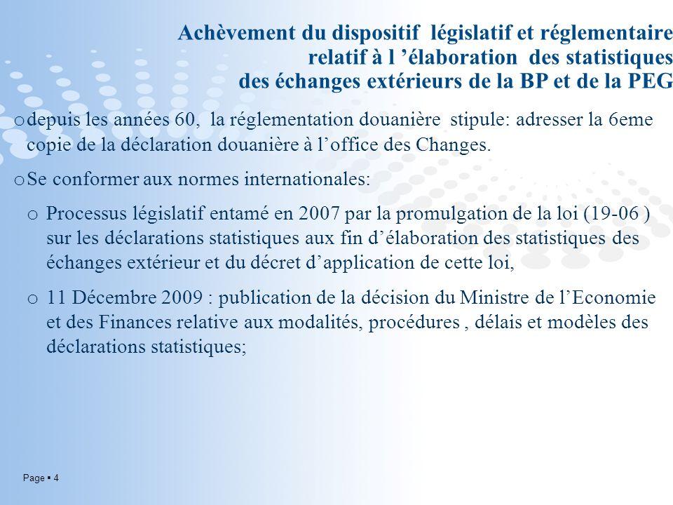 Page 4 Achèvement du dispositif législatif et réglementaire relatif à l élaboration des statistiques des échanges extérieurs de la BP et de la PEG o d