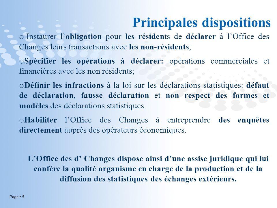 Page 5 o Instaurer lobligation pour les résidents de déclarer à lOffice des Changes leurs transactions avec les non-résidents; o Spécifier les opérati