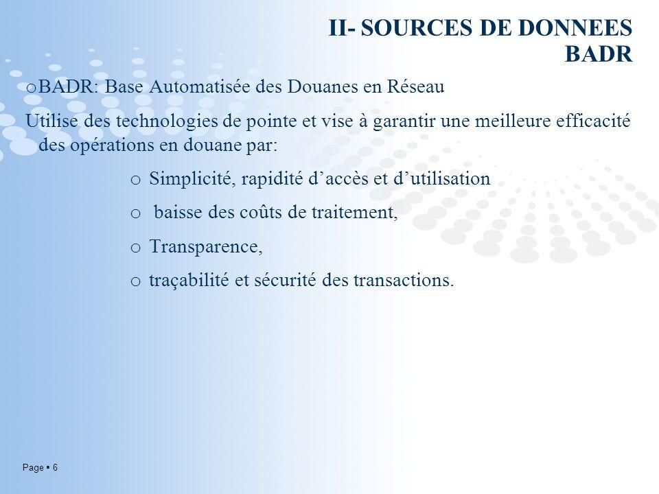 Page 6 II- SOURCES DE DONNEES BADR o BADR: Base Automatisée des Douanes en Réseau Utilise des technologies de pointe et vise à garantir une meilleure