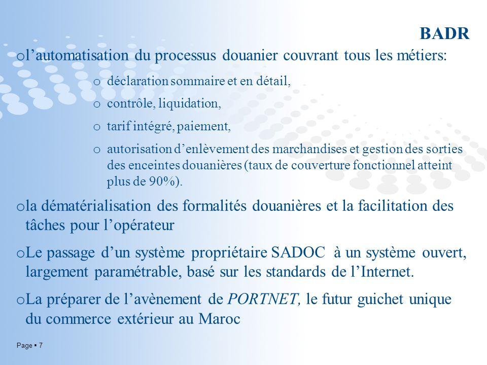 Page 7 BADR o lautomatisation du processus douanier couvrant tous les métiers: o déclaration sommaire et en détail, o contrôle, liquidation, o tarif i