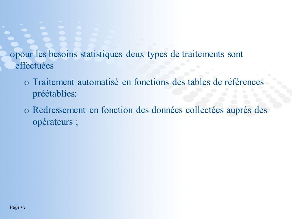 Page 9 o pour les besoins statistiques deux types de traitements sont effectuées o Traitement automatisé en fonctions des tables de références préétablies; o Redressement en fonction des données collectées auprès des opérateurs ;