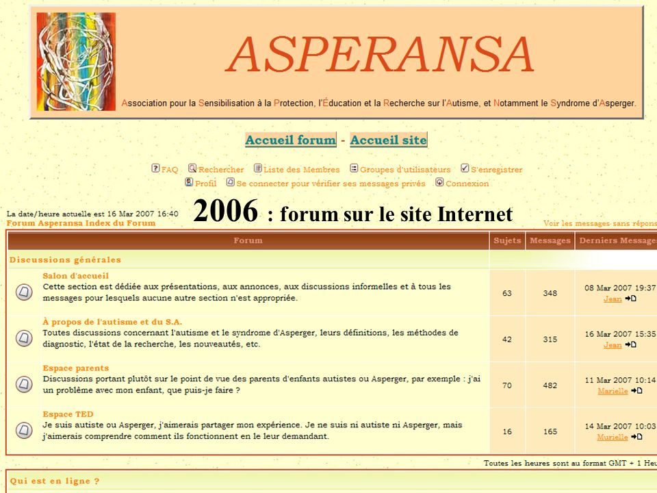 ASPERANSA 2005 : Diffuser information Mai Forum orientation et handicap Octobre Conseil Général Collectif des associations de personnes handicapées Dé
