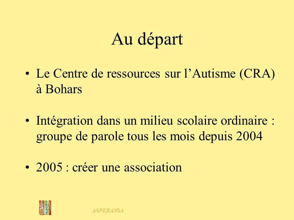 ASPERANSA Au départ Le Centre de ressources sur lAutisme (CRA) à Bohars Intégration dans un milieu scolaire ordinaire : groupe de parole tous les mois depuis 2004 2005 : créer une association