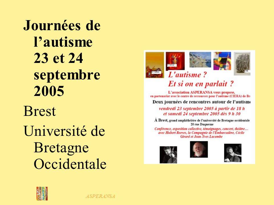 ASPERANSA 2005 : Diffuser information Mai Forum orientation et handicap Octobre Conseil Général Collectif des associations de personnes handicapées Décembre Directions de crèches, décoles maternelles