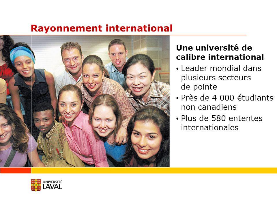 Rayonnement international Une université de calibre international Leader mondial dans plusieurs secteurs de pointe Près de 4 000 étudiants non canadiens Plus de 580 ententes internationales