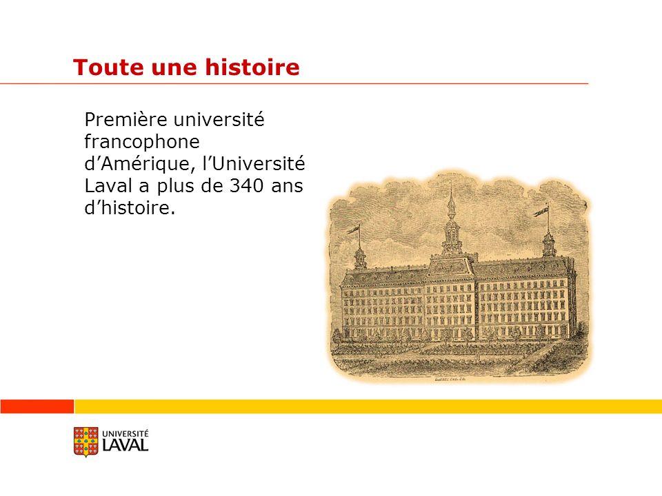 Toute une histoire Première université francophone dAmérique, lUniversité Laval a plus de 340 ans dhistoire.