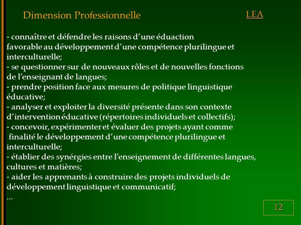 12 LEA Dimension Professionnelle - connaître et défendre les raisons dune éduaction favorable au développement dune compétence plurilingue et interculturelle; - se questionner sur de nouveaux rôles et de nouvelles fonctions de lenseignant de langues; - prendre position face aux mesures de politique linguistique éducative; - analyser et exploiter la diversité présente dans son contexte dintervention éducative (répertoires individuels et collectifs); - concevoir, expérimenter et évaluer des projets ayant comme finalité le développement dune compétence plurilingue et interculturelle; - établier des synérgies entre lenseignement de différentes langues, cultures et matières; - aider les apprenants à construire des projets individuels de développement linguistique et communicatif;...