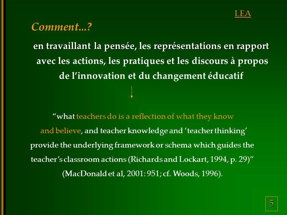 5 LEA en travaillant la penséereprésentations en rapport en travaillant la pensée, les représentations en rapport avec les actions, les pratiques et l