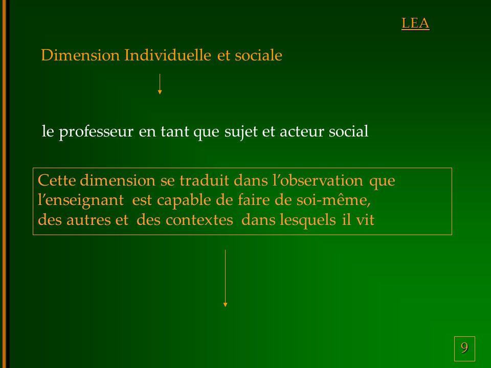 9 LEA Dimension Individuelle et sociale Cette dimension se traduit dans lobservation que lenseignant est capable de faire de soi-même, des autres et des contextes dans lesquels il vit le professeur en tant que sujet et acteur social