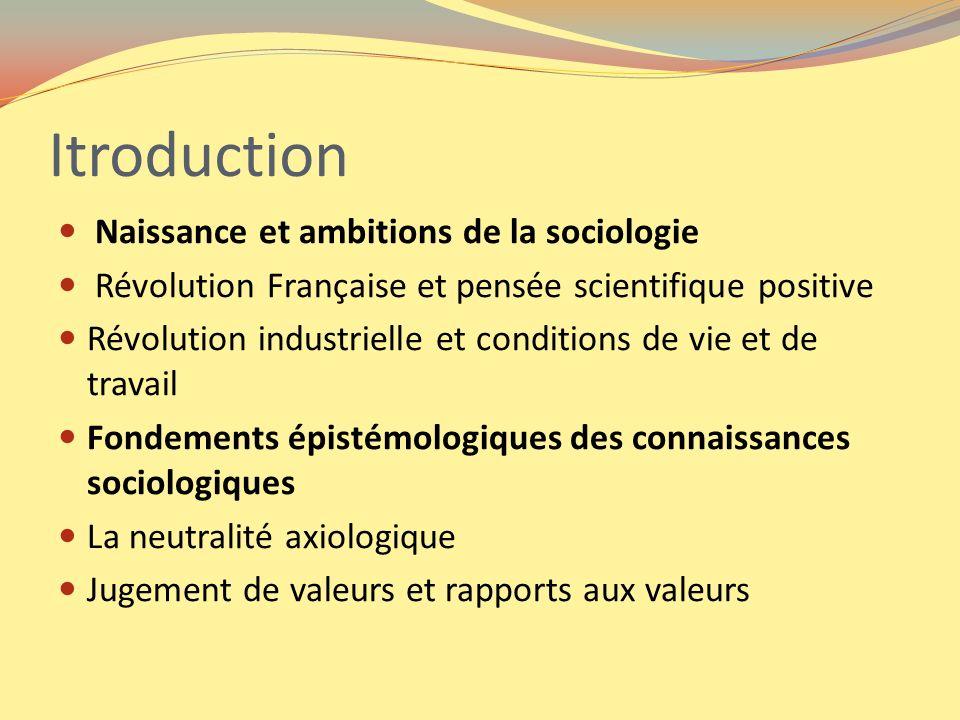 Itroduction Naissance et ambitions de la sociologie Révolution Française et pensée scientifique positive Révolution industrielle et conditions de vie