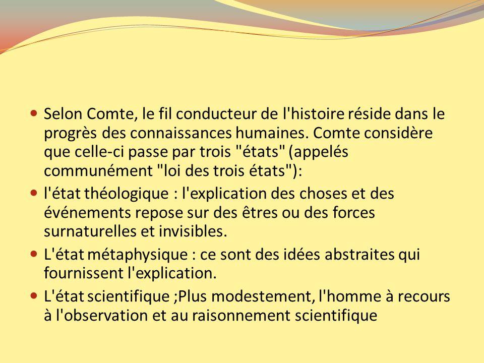 Selon Comte, le fil conducteur de l'histoire réside dans le progrès des connaissances humaines. Comte considère que celle-ci passe par trois